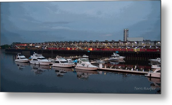 Harbor And Skyline From Old Montreal Metal Print