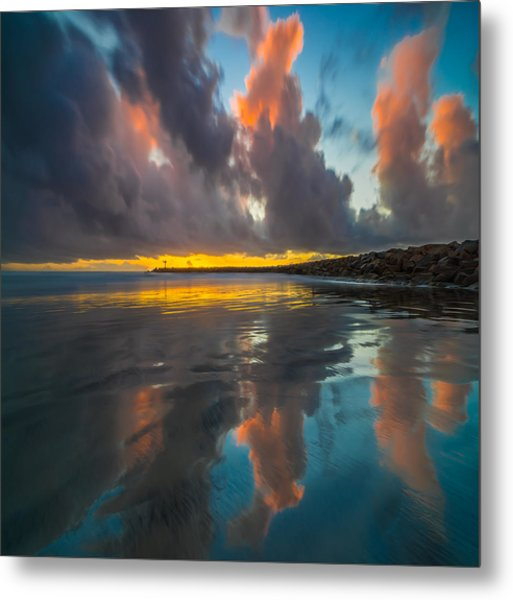 Harbor Jetty Reflections Square Metal Print