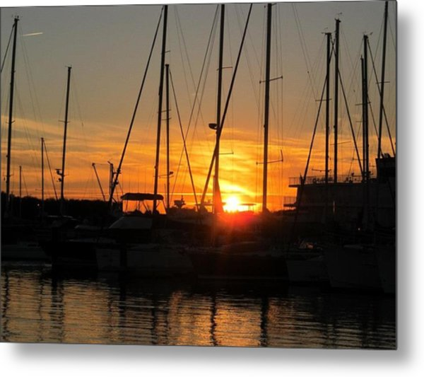 Harbor Sunset In Charleston Sc Metal Print