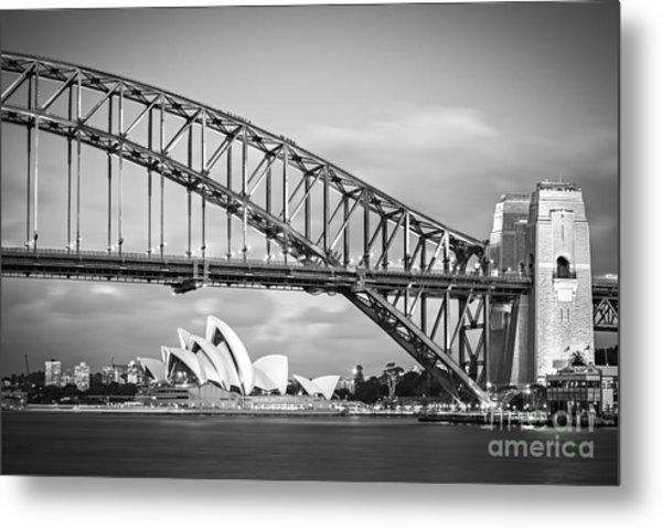 Harbour Bridge And Opera House Sydney Metal Print