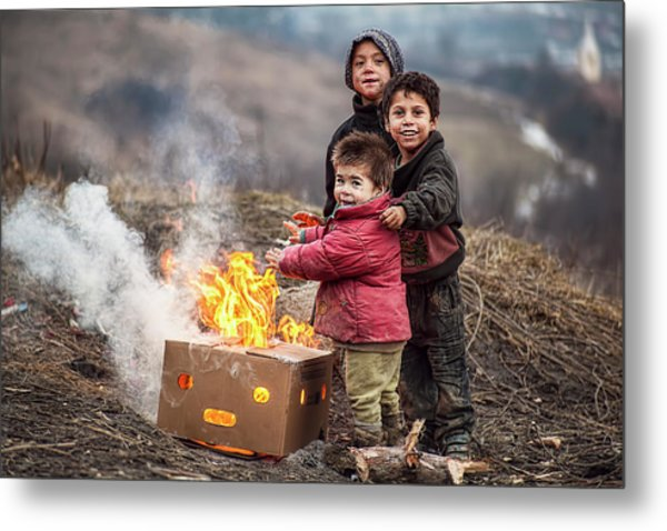 Hard Life But Smile On Their Faces! Metal Print