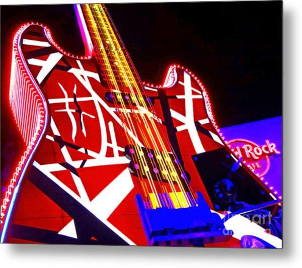 Hard Rock Glowing Guitar Metal Print