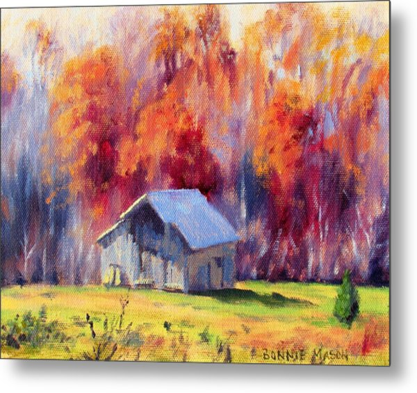 Hardy Road Barn- In Autumn Metal Print