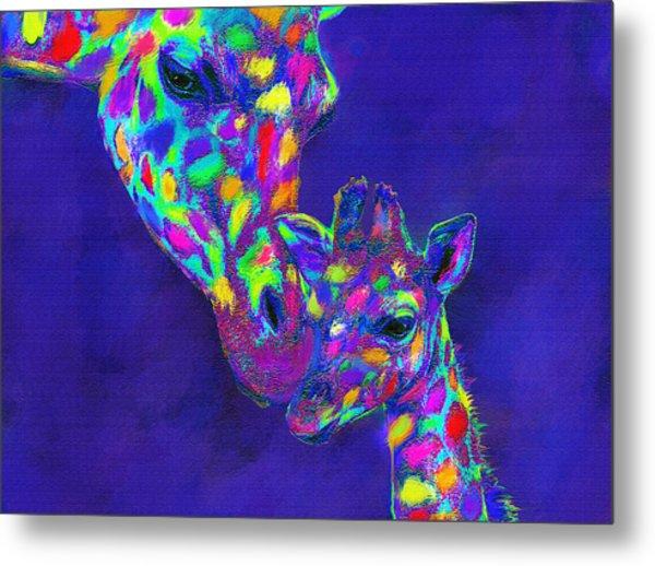Harlequin Giraffes Metal Print