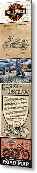 Harley-davidson Montage With Austin Map Metal Print