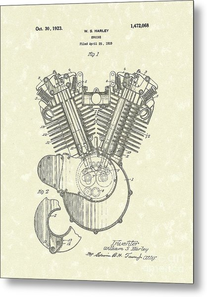 Harley Engine 1923 Patent Art Metal Print