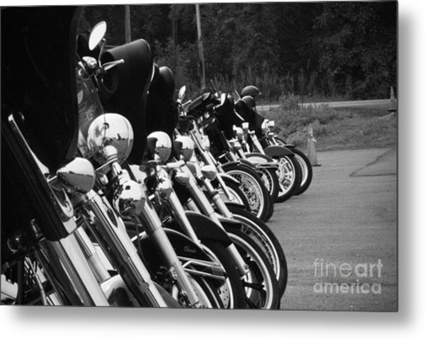 Harleys All In A Row Metal Print