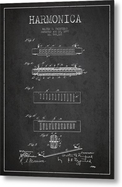 Harmonica Patent Drawing From 1897 - Dark Metal Print