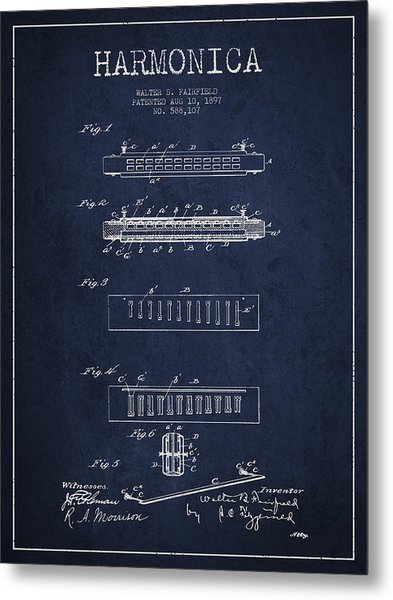 Harmonica Patent Drawing From 1897 - Navy Blue Metal Print