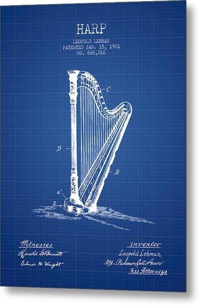 Harp Music Instrument Patent From 1901 - Blueprint Metal Print