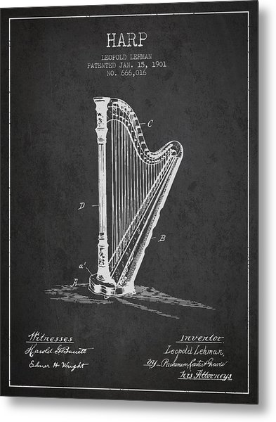 Harp Music Instrument Patent From 1901 - Charcoal Metal Print