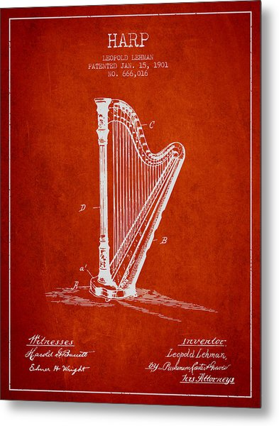 Harp Music Instrument Patent From 1901 - Red Metal Print