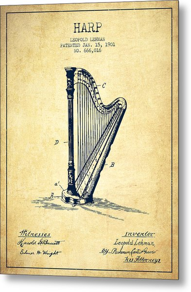 Harp Music Instrument Patent From 1901 - Vintage Metal Print