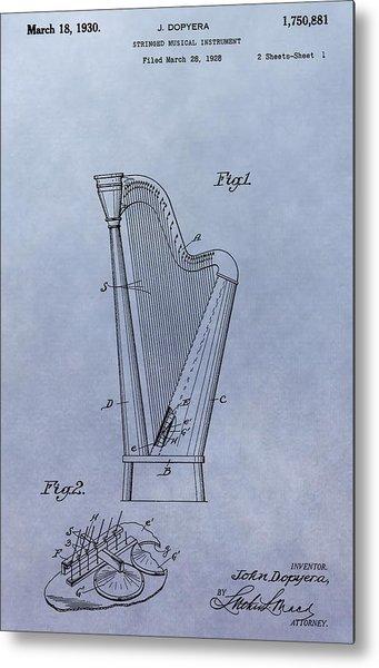 Harp Patent Metal Print