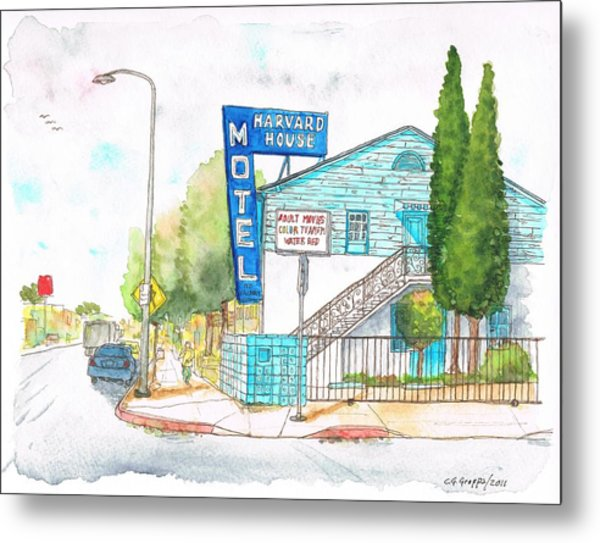 Harvard House Motel In Hollywood Blvd - Los Angeles - California Metal Print