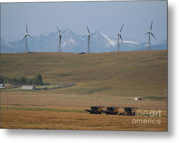 Harvesting Wind And Grain Metal Print