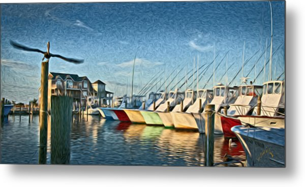 Hatteras Harbor Marina Metal Print by Williams-Cairns Photography LLC