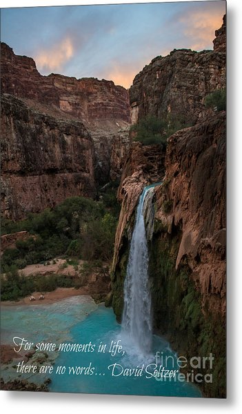 Havasu Falls With Quote Metal Print