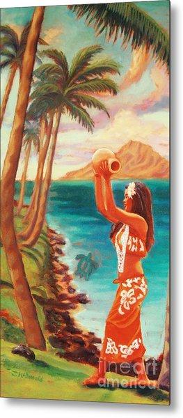 Hawaiian Hula Wahine Metal Print