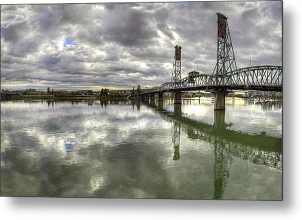 Hawthorne Bridge Over Willamette River Metal Print
