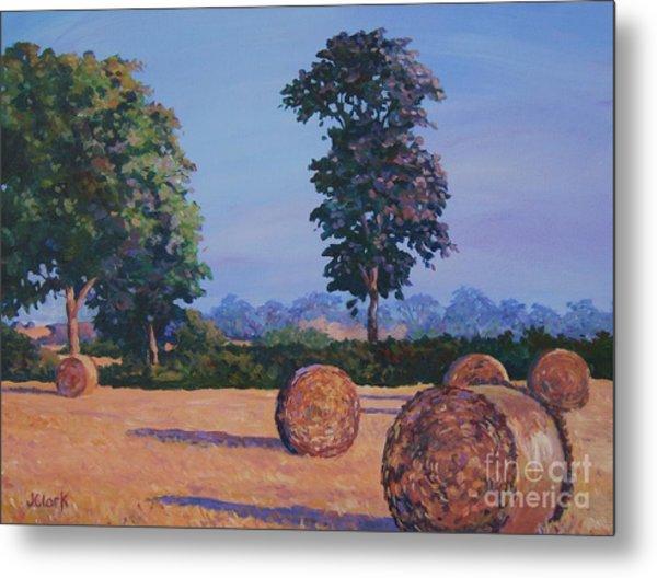 Hay-bales In Evening Light Metal Print