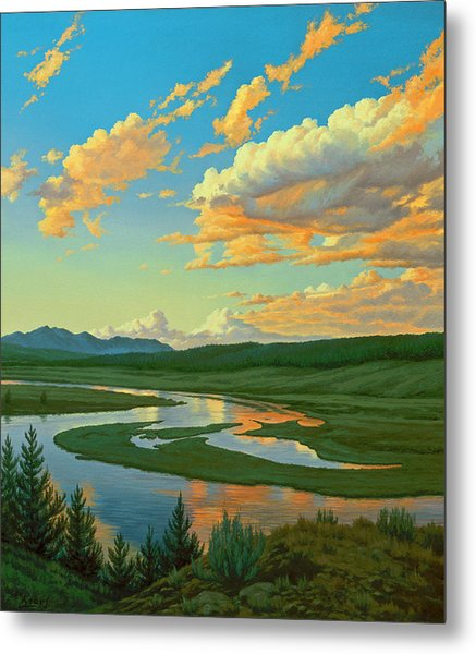 Hayden Valley Sunset Metal Print