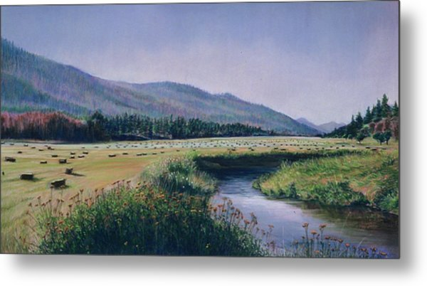 Hayfield And River Metal Print