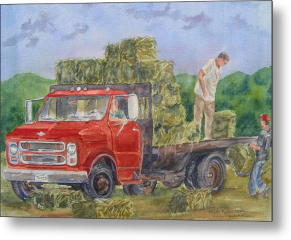 Metal Print featuring the painting Haying by Paula Robertson