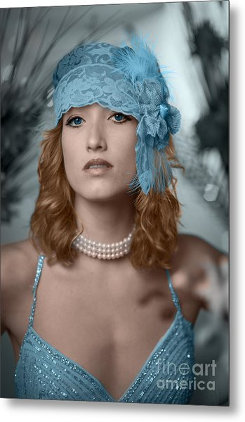 Hayley Blue Metal Print by Donald Davis