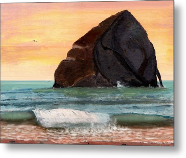 Haystack Rock At Kiwanda Metal Print