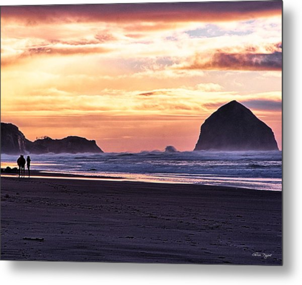 Haystack Rock Beach Walk Sunset Metal Print
