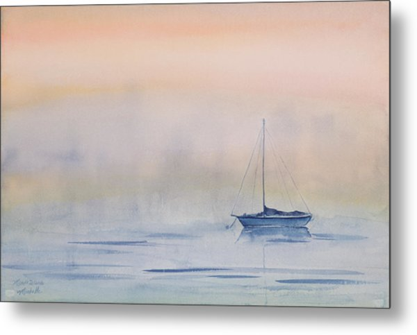 Hazy Day Watercolor Painting Metal Print