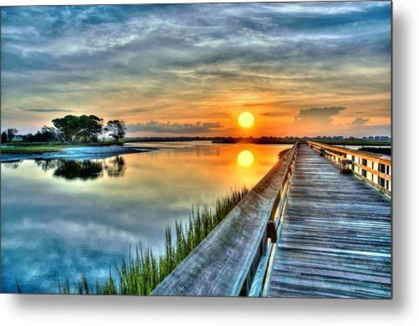 Hdr Boardwalk Sunrise Metal Print