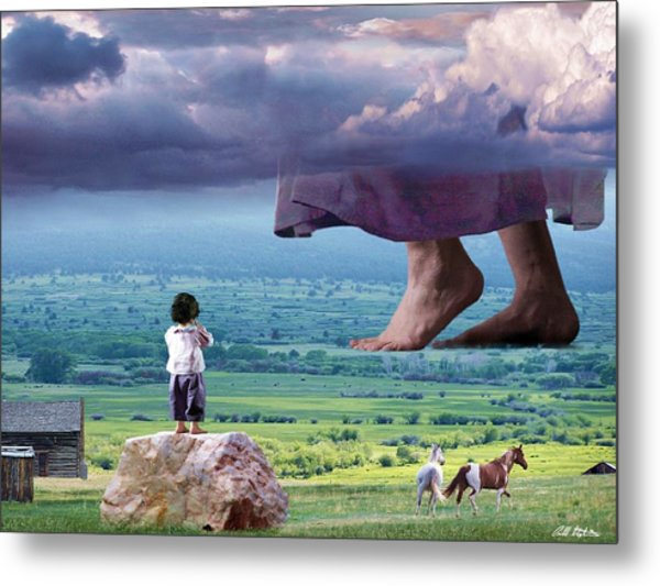 He Still Walks Here Metal Print