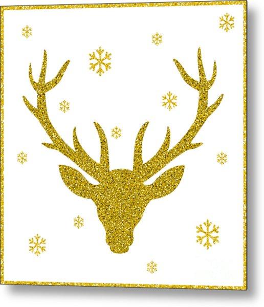 Head Of Deer With Big Horns. Trendy Metal Print