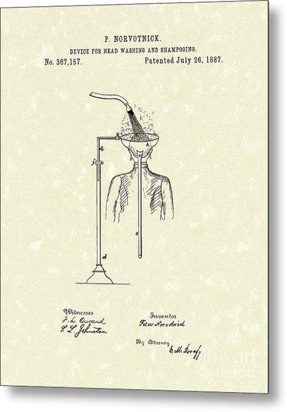 Head Washer 1887 Patent Art Metal Print by Prior Art Design