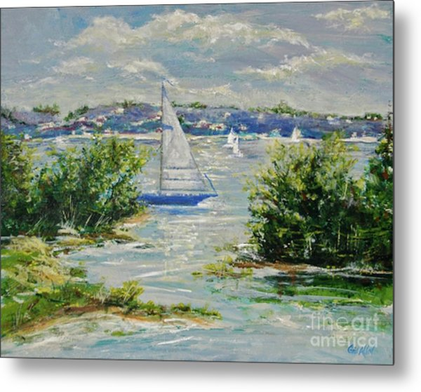 Heading Out Of The Harbor Metal Print