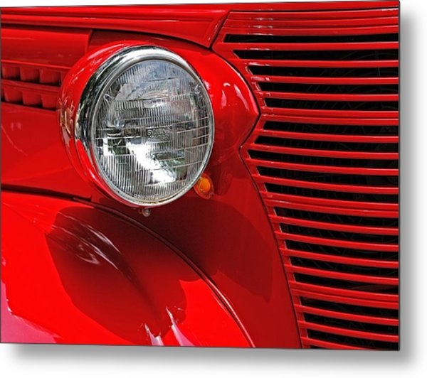 Headlight On Red Car Metal Print