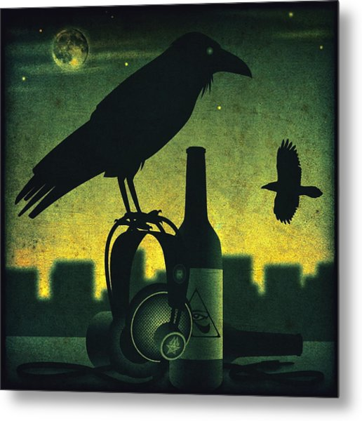 Headphone Raven Metal Print
