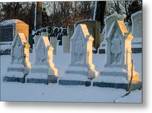 Headstones In Winter 2 Metal Print