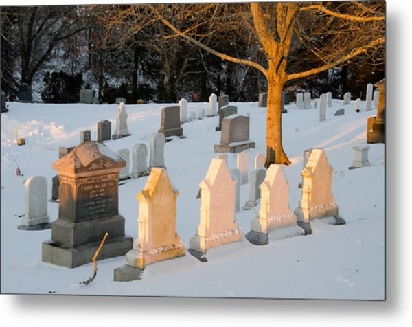 Headstones In Winter 3 Metal Print