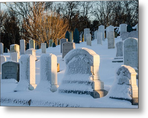Headstones In Winter Metal Print