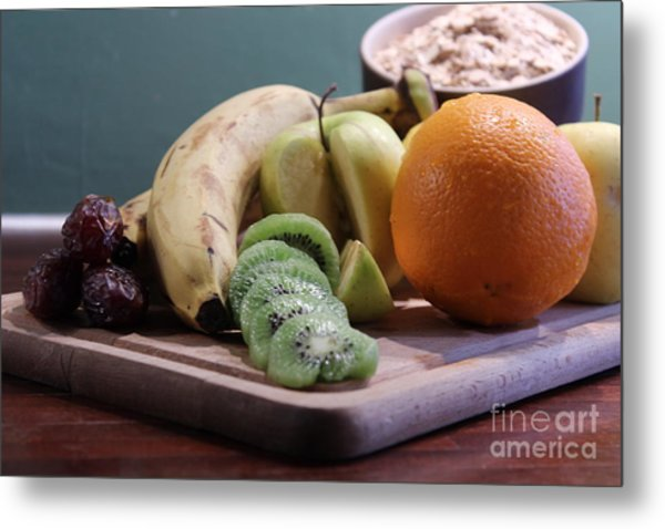 Healthy Breakfast Fruits And Cereals Metal Print