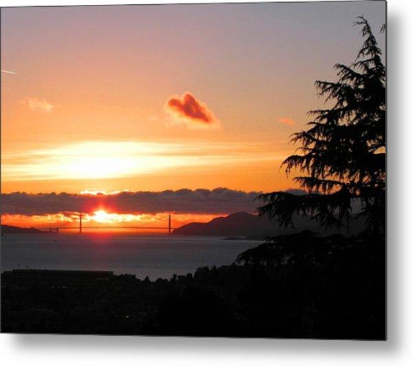 Heart Cloud Over Golden Gate Bridge Metal Print