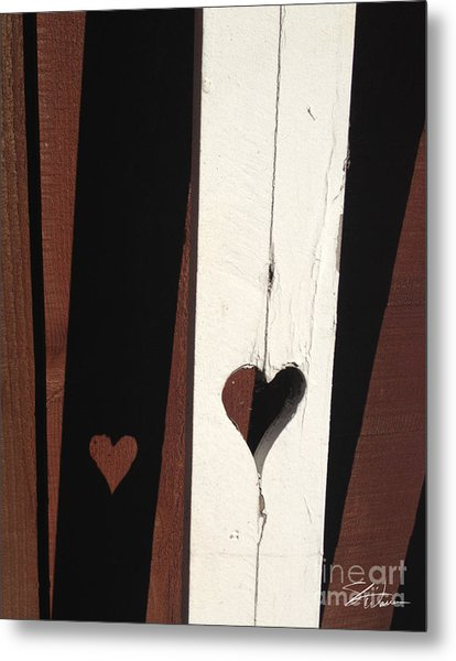 Heart Fence Shadow  Metal Print