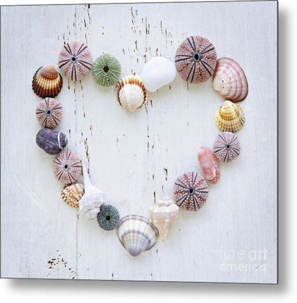 Heart Of Seashells And Rocks Metal Print