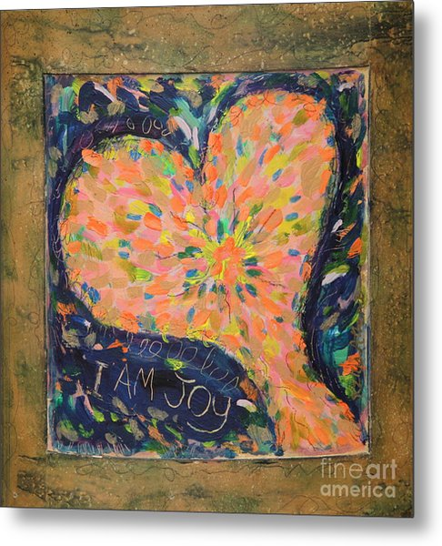 Heart On Curved Wood Metal Print by Kelly Athena