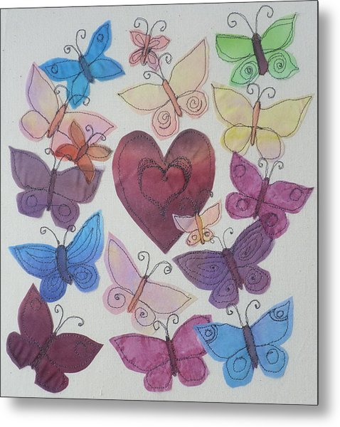 Hearts And Butterflies Metal Print