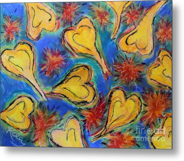 Hearts And Red Stars Metal Print by Kelly Athena
