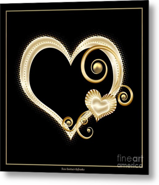 Metal Print featuring the digital art Hearts In Gold And Ivory On Black by Rose Santuci-Sofranko